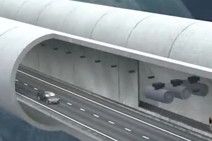Animation view of tunnel under water of Sea