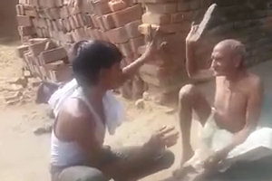 Funny video - boy Kiding with old man