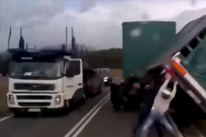Heavy Godds carrying Truck fall down