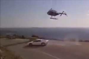 Helicopter chasing a car - Nice scene of Hollywood movie