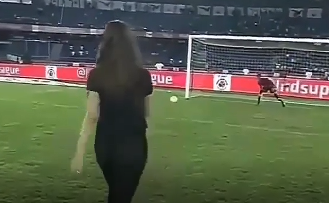 Penalty kick by Indian Girl