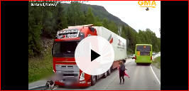 a semi-truck narrowly missing schoolchildren crossing the street in Norway
